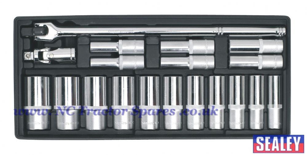 "Tool Tray with Socket Set 19pc 1/2""Sq Drive Deep"